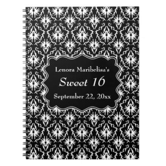Damask Sweet 16 in Black and White. Notebook