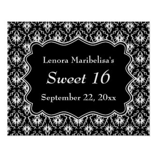 Damask Sweet 16 in Black and White. Poster