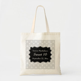 Damask Sweet 16 in Pale Gray, Black and White. Tote Bags