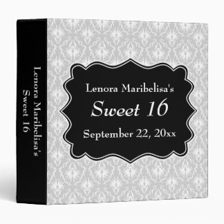 Damask Sweet 16 in Pale Gray, Black and White. Binder