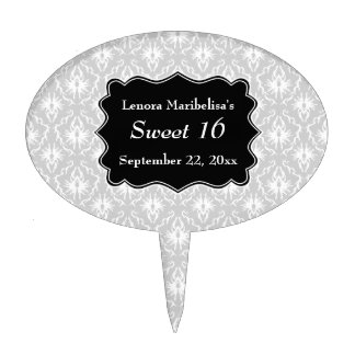 Damask Sweet 16 in Pale Gray, Black and White. Cake Topper