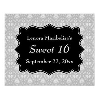 Damask Sweet 16 in Pale Gray, Black and White. Poster