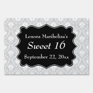 Damask Sweet 16 in Pale Gray, Black and White. Sign