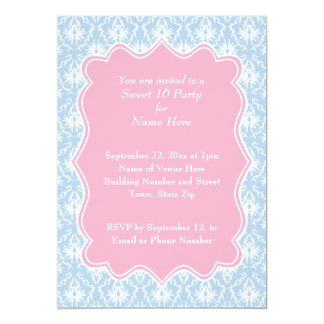 Damask Sweet 16 Pastel Pink and Blue 5x7 Paper Invitation Card