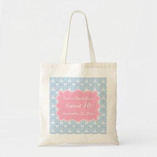 Damask Sweet 16 Pastel Pink and Blue Tote Bag