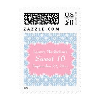 Damask Sweet 16 Pastel Pink and Blue Postage