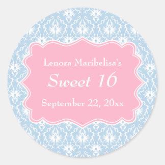 Damask Sweet 16 Pastel Pink and Blue Round Sticker