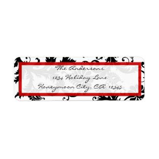 Damask Swirl Red & Black Address Label