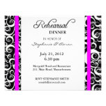 Damask Swirl Rehearsal Dinner Card in Fuchsia Custom Announcements