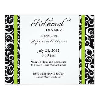 Damask Swirl Rehearsal Dinner Card in Green
