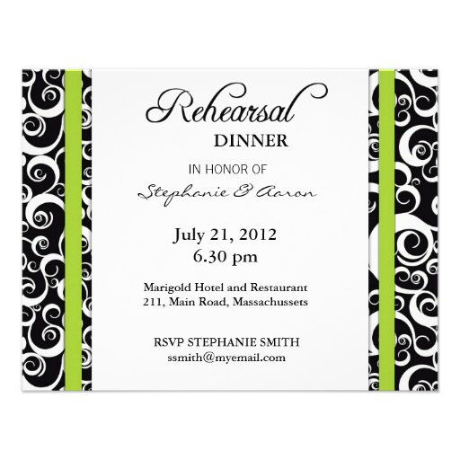 Damask Swirl Rehearsal Dinner Card in Green Custom Invite