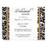 Damask Swirl Rehearsal Dinner Card in Hazelnut Custom Invitation