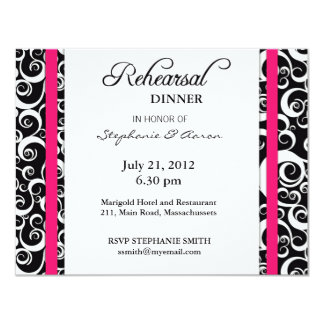 Damask Swirl Rehearsal Dinner Card in Hot Pink