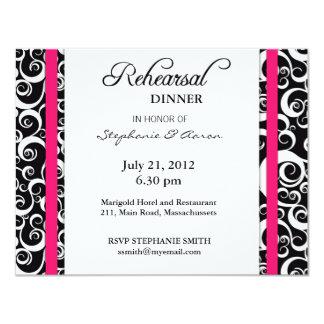 Damask Swirl Rehearsal Dinner Card in Hot Pink