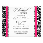 Damask Swirl Rehearsal Dinner Card in Hot Pink Personalized Invitations