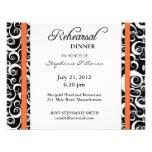 Damask Swirl Rehearsal Dinner Card in Orange Custom Announcements