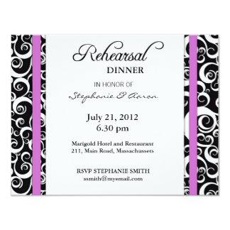 Damask Swirl Rehearsal Dinner Card in Purple