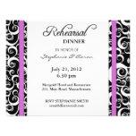 Damask Swirl Rehearsal Dinner Card in Purple Personalized Invitation