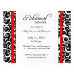 Damask Swirl Rehearsal Dinner Card in Red