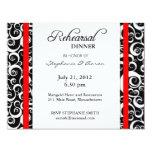 "Damask Swirl Rehearsal Dinner Card in Red 4.25"" X 5.5"" Invitation Card"