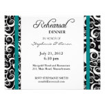 Damask Swirl Rehearsal Dinner Card in Teal Invitations