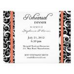Damask Swirl Rehearsal Dinner Card in Terracotta Personalized Invite