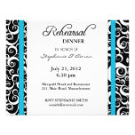 Damask Swirl Rehearsal Dinner Card in Turquoise Custom Announcements
