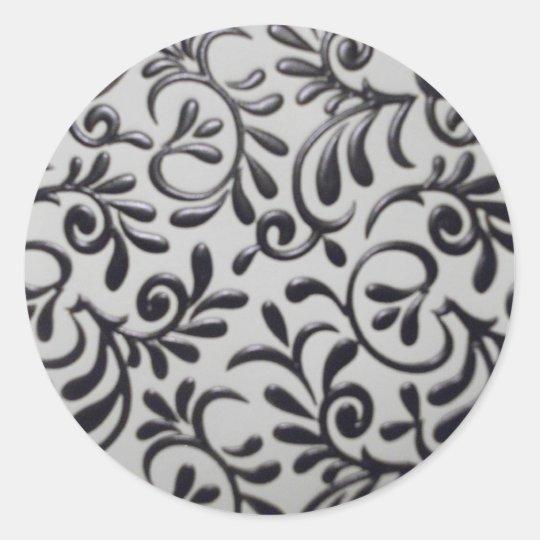 Damask Swirl Round Sticker