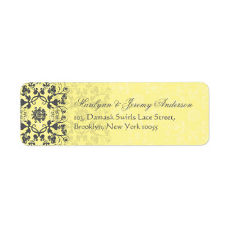 Damask Swirls Lace Butter Custom Label Custom Return Address Label