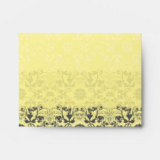 Damask Swirls Lace Butter Custom Wedding Envelope