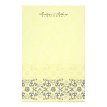 Damask Swirls Lace Butter Thank You Stationery