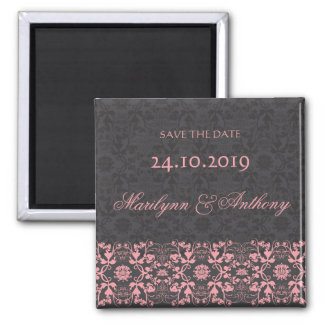 Damask Swirls Lace Charcoal Save The Date Magnet