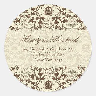 Damask Swirls Lace Coffee Address Label Sticker