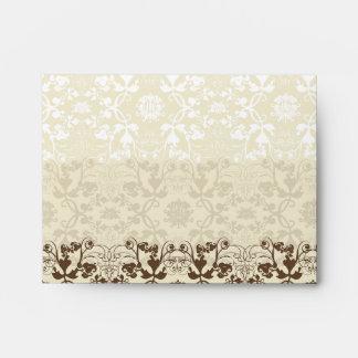 Damask Swirls Lace Coffee Custom Wedding Envelope