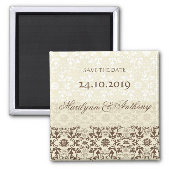 Damask Swirls Lace Coffee Save The Date Magnet