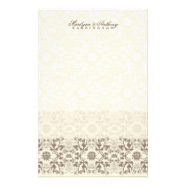 Damask Swirls Lace Coffee Thank You Stationery