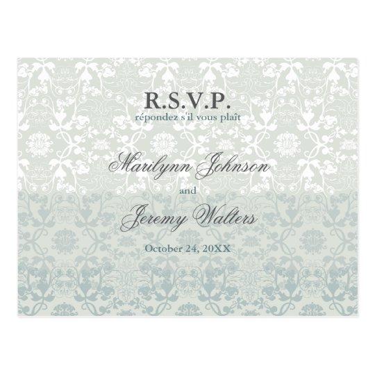 Damask Swirls Lace Dream RSVP Wedding Postcard