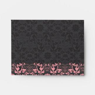 Damask Swirls Lace Licorice Wedding Envelope