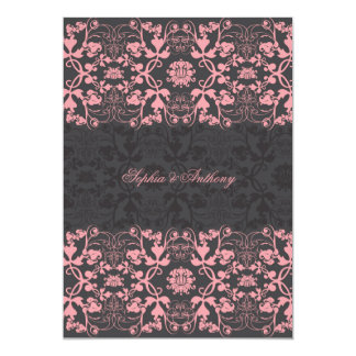 Damask Swirls Lace Licorice Wedding Invitation 2