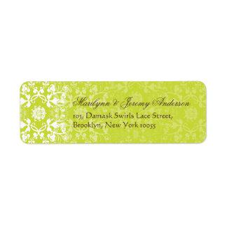 Damask Swirls Lace Lime Custom Label Return Address Labels