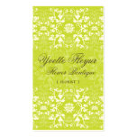 Damask Swirls Lace Lime Custom Profile Card / Double-Sided Standard Business Cards (Pack Of 100)