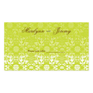 Damask Swirls Lace Lime Custom Table /Place Card