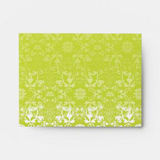 Damask Swirls Lace Lime Custom Wedding Envelope