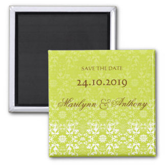 Damask Swirls Lace Lime Save The Date Magnet