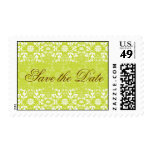 Damask Swirls Lace Lime Save The Date Postage