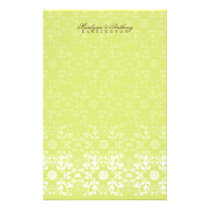 Damask Swirls Lace Lime Thank You Stationery