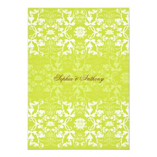 Damask Swirls Lace Lime Wedding Invitation 2