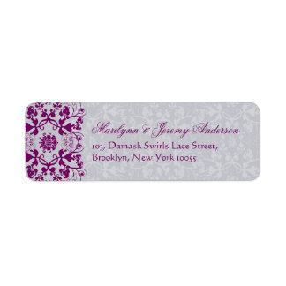Damask Swirls Lace Orchid Custom Label Return Address Label