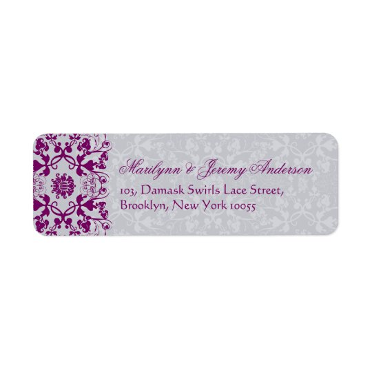 Damask Swirls Lace Orchid Custom Label