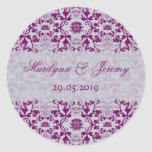 Damask Swirls Lace Orchid Gift Favor Label Sticker